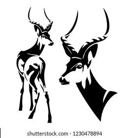 impala antelope (Aepyceros melampus) black and white vector outline - wild african animal portrait