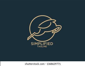 impala gold line jump stylish logo icon designs vector