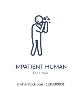 impatient human icon. impatient human linear symbol design from Feelings collection. Simple outline element vector illustration on white background.