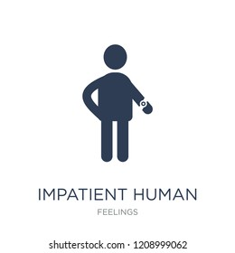 impatient human icon. Trendy flat vector impatient human icon on white background from Feelings collection, vector illustration can be use for web and mobile, eps10