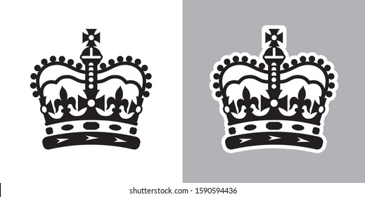Imperial state crown of the UK ( United Kingdom of Great Britain and Northern Ireland ). Vector Illustration on light and dark backgrounds.