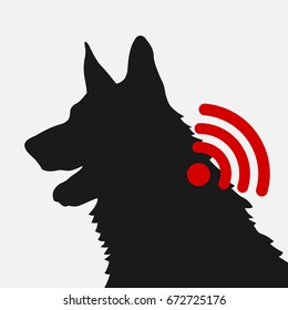 Implantation of microchip into body of dog. Device transmits signal. Modern technology and device for identification and surveillance of pets. Vector illustration