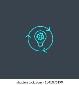 implementation concept blue line icon. Simple thin element on dark background. implementation concept outline symbol design. Can be used for web and mobile UI/UX