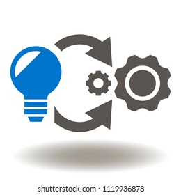Implementation Icon Vector. Lamp Cogwheel Circle Arrows Symbol. Process Progress Development Logo. Idea to Product Sign.