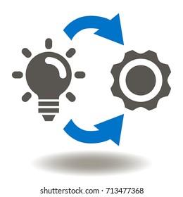 Implementation Icon Vector. Light Bulb Gear Circular Arrows Symbol (Logo).