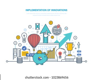 Implementation of innovations. Introduction of innovative technologies, technical progress, investment in innovation, creative process, start-up, research activity. Illustration thin line design.
