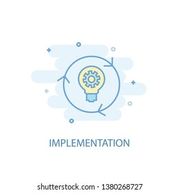 implementation line concept. Simple line icon, colored illustration. implementation symbol flat design. Can be used for UI/UX