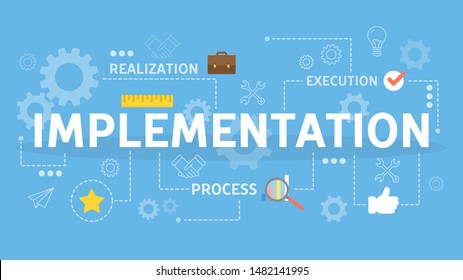 Implementation single word banner concept. Implement idea into business process. Strategy and development. Flat vector illustration