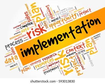 Implementation word cloud, business concept