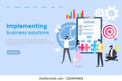 Implementing business solution website with info vector. Clipboard with checklist and ticks, gears and aim goal of workers to reach. Plan and analysis