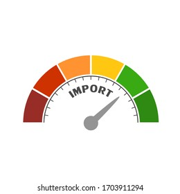 Import level scale with arrow. The measuring device icon. Sign tachometer, speedometer, indicators. Infographic gauge element.