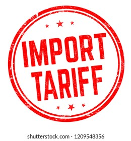 Import tariff sign or stamp on white background, vector illustration
