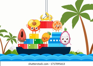 Import tropical fruits on ship by ocean vector illustration. Natural products, peach, avocado, apricot stand on boxes for transportation. Transportation banana, orange and pitaya banner.