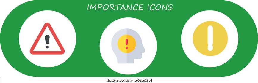 importance icon set. 3 flat importance icons.  Simple modern icons such as: warning