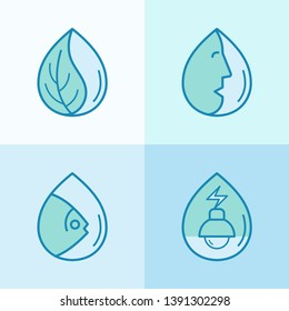 Importance of water icon set. Water is the basis of life of all human, animal and plant. Vector illustration outline flat design style.