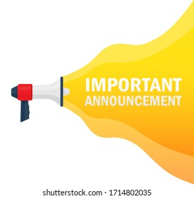 Important announcement. Badge, stamp with megaphone icon. Flat vector illustration on white background