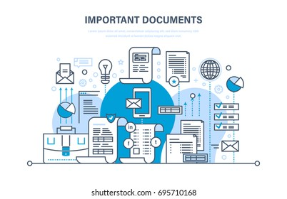 Important documents concept. Business documents, business accounts, working reporting files, statistics, marketing research results, mail messages. Illustration thin line design of vector doodles