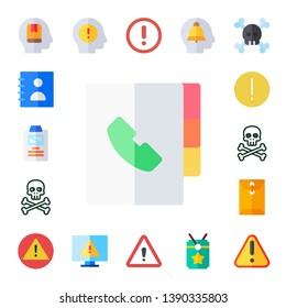important icon set. 17 flat important icons.  Collection Of - memorize, agenda, summary, danger, warning, dossier, error, exclamation mark, alert, vip
