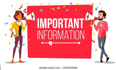 Important Information Attention Banner Vector. Businessman, Woman With Megaphone. Loudspeaker. Business Advertising. Place For Text. Illustration