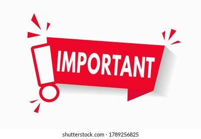 Important notice icon for attention message banner red vector illustration. Caution information warning mark. Important announcement label with red exclamation sign. Urgent alert popup template. V1