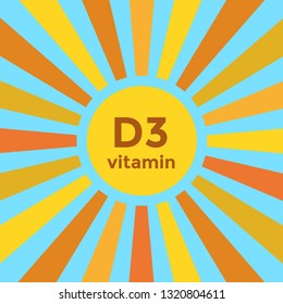 Important vitamin D3 - cholecalciferol - made by the skin when exposed to sunlight. Square icon with sun rays.