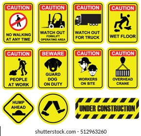 Important yellow color construction site and building site safety warning  signage, icons and symbols. Signage like watch out forklift operating area, watch out for truck, wet floor, people at work.