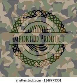 Imported Product on camouflage texture