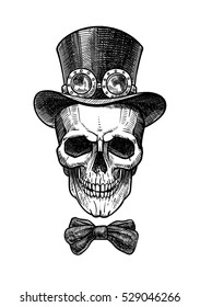 Imposing a skull in cylinder hat with bow and glasses in the style of steampunk