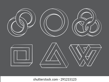 Impossibe looped shapes,circles, square and triangles. Vector