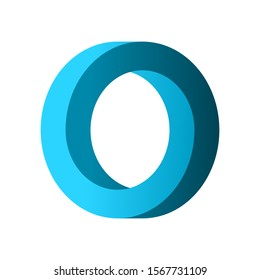 Impossible circle shape. Blue gradient infinite circular shape. Optical illusion. Interlocking circles on white background. Letter O or a ring. Abstract endless geometric loop. Vector illustration.