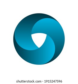 Impossible circle shape. Optical illusion. Blue gradient infinite circular shape. Interlocking circles on white background. Letter O or a ring. Abstract endless geometric loop. Vector illustration.