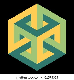 Impossible cube, isometric drawing, vector illustration