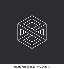 Impossible cube. Line design. Isolated on black background. Vector illustration EPS 10