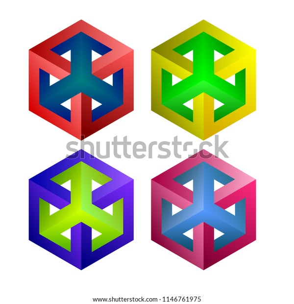 Impossible Cubes Dimensional Drawing Vector Images Stock