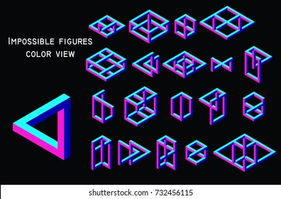 Impossible figures, color view, vector