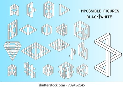 Impossible figures, filled lines, vector
