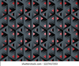 Impossible figures isometric 3d hollow cubes seamless pattern in Escher style, imp-art. Gradient pattern. Black graphite background.