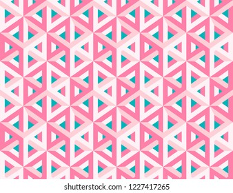 Impossible figures isometric 3d hollow cubes seamless pattern in Escher style, imp-art. Gradient pattern. ?ink background.