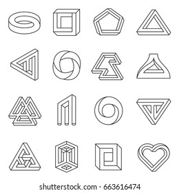 Impossible figures line art collection. Type of optical illusion, reality trick, fascinating objects of geometry. Vector flat style illustration isolated on white background