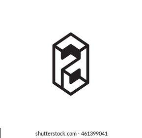 Impossible figures linear vector logo in a modern style,