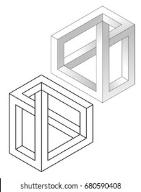 Impossible figures, realistic and lines vector