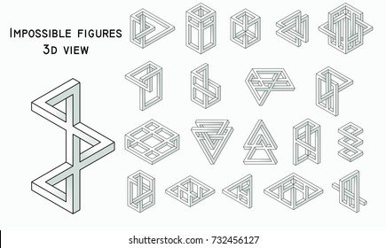 Impossible figures, realistic style, vector