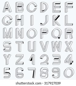 Impossible font set, including numerals. Raster dots pattern is applied.