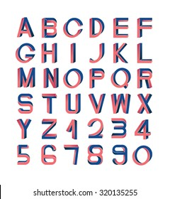 Impossible font set, including numerals. Red and blue gradients, white striped edges.