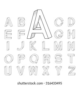 Impossible font set from A to Z with big initial A.