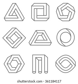 Impossible geometric shapes in linear outline style. Emblem logo set, monochrome trendy geometrical illustration.  Vector hipster elements