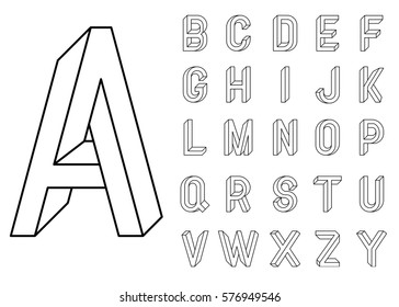 Impossible Geometry letters. et of vector letters constructed on the basis of the isometric view. Impossible shape, optical illusion. Sacred geometry. Vector illustration 10 eps
