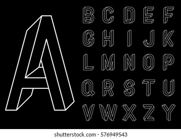 Impossible Geometry letters. Set of vector letters constructed on the basis of the isometric view. Low poly 3d characters. Geometric font. Vector illustration 10 eps.