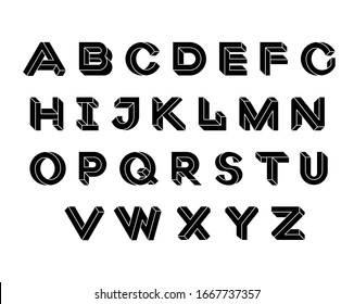 Impossible Geometry letters. Impossible shape font. Geometric Isometric graphics. Black letters on a white background. Vector illustration 10 eps
