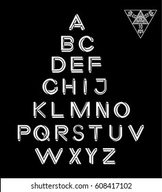 Impossible Geometry letters. Impossible shape font. Low poly 3d characters. Geometric font. Isometric graphics 3d abc. White letters on a black background. Vector illustration 10 eps.